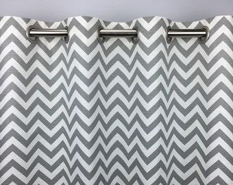 Gray Zigzag Curtains - FREE SHIPPING - Ash Gray Chevron Curtains - Gray and White Chevron Curtains - Grommets - 63 84 96 108 120