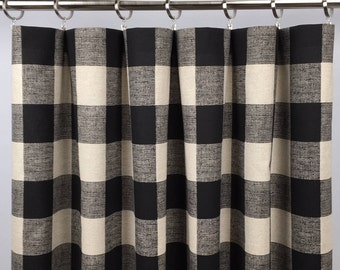 Black Tan Buffalo Check Curtains - Black Buffalo Plaid - Black Gingham Drapes - Black Plaid Drapery - Farmhouse Curtains - Rod Pocket