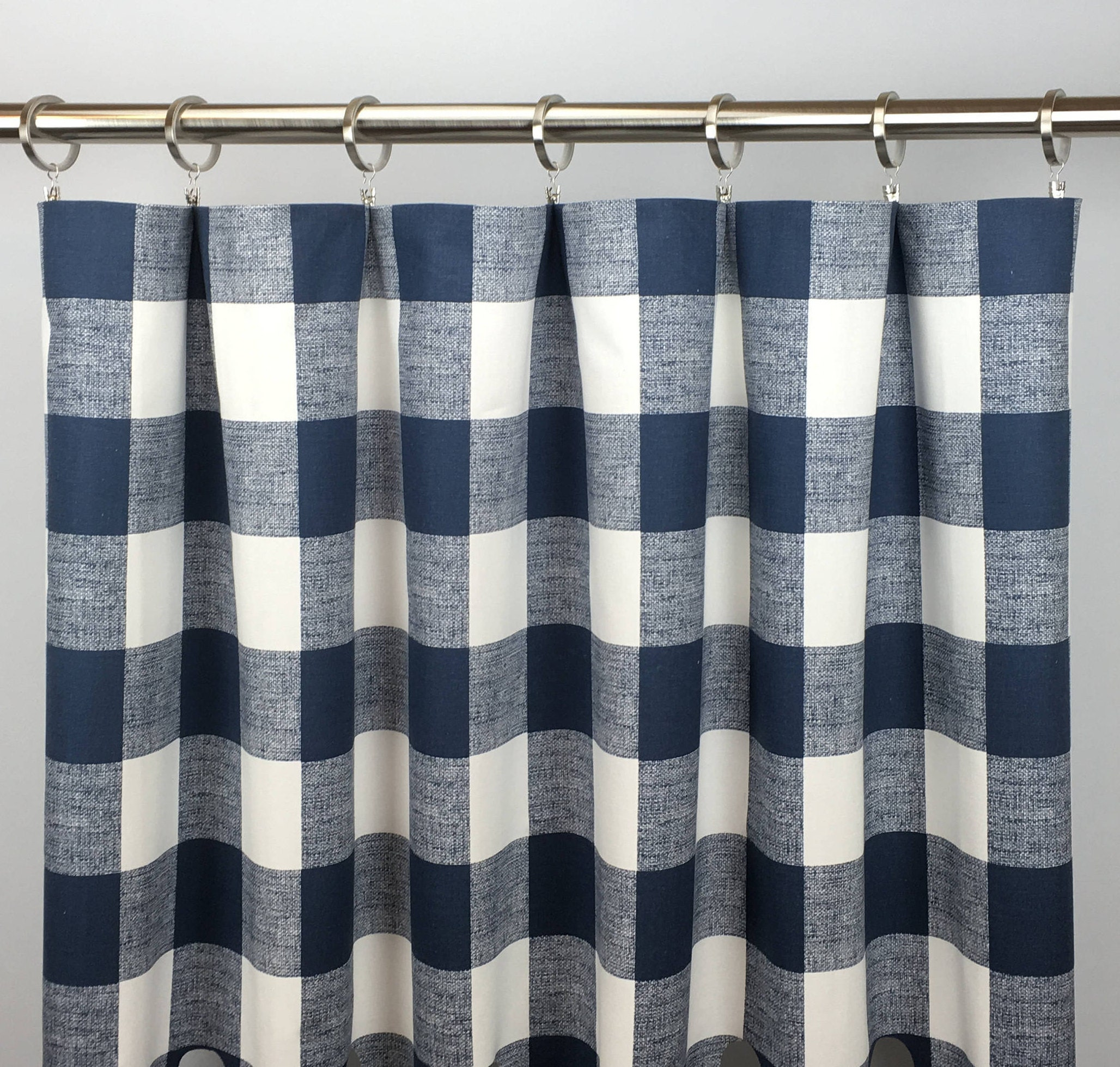 Navy Blue Buffalo Plaid Curtains Free Shipping Navy Etsy