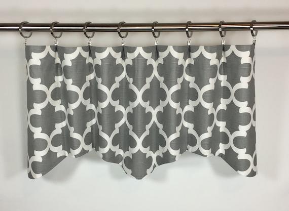 gray window valance no sew image gray lattice valance window 50x16 cotton etsy