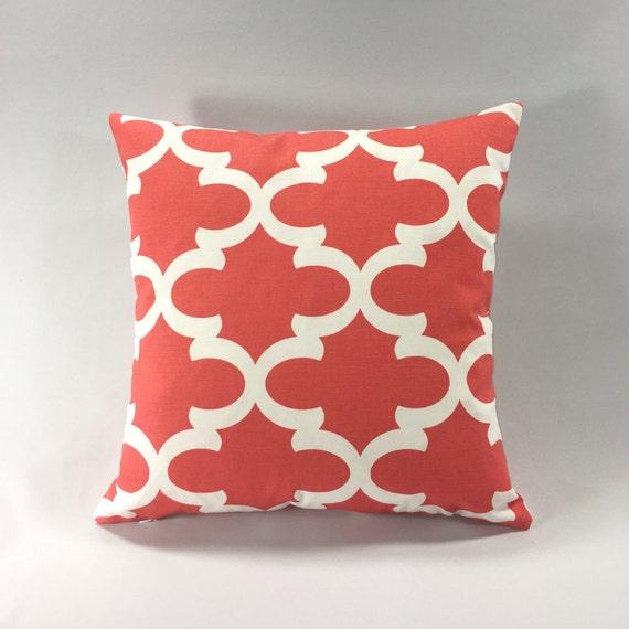 Red White Geometric Moroccan Quartrefoil Throw Pillow Toss Pillow Lumbar Euro Sham Cushion Cover 18x18 20x20 Custom Size