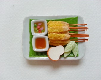 Miniature Pork Sticks, Moo Sa-Te, Thai food, Refrigerator magnet
