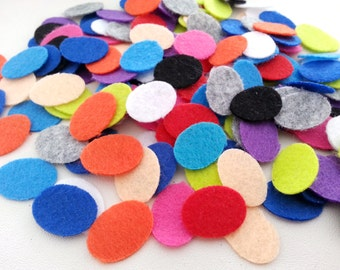 Free shipping!!! FELT Oval die-cut mixed 10 color 1.5 x 2 cm. thick 1 mm.