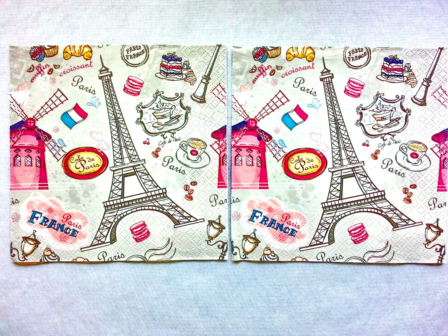 2 Pcs Decoupage Cafe De Paris Vintage Napkinsnapkins For