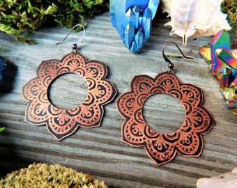 Acid Etched Copper Mandala Earrings | Boho Geometric Earrings | Artisan Copper Patina Earrings | Tribal Bohemian Copper Flower Earrings