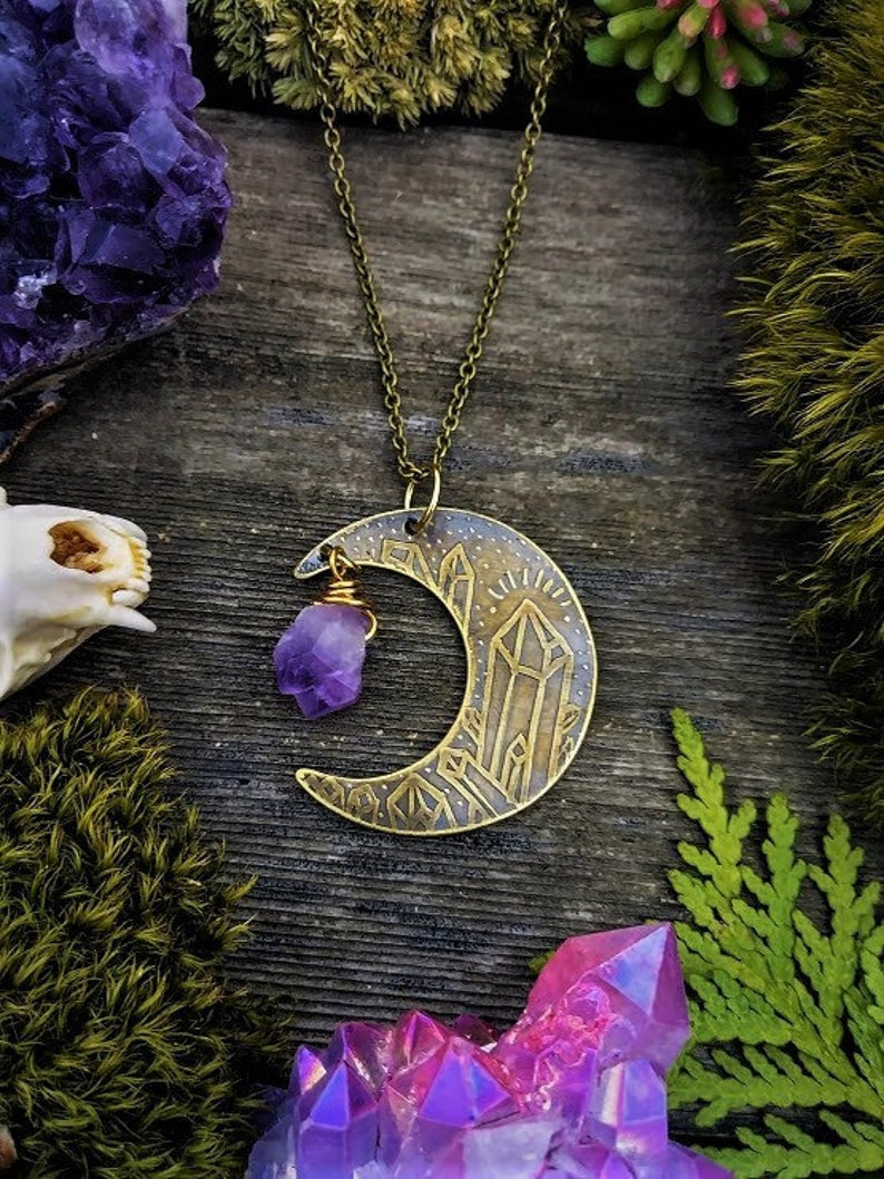 Etched Brass Crescent Moon Necklace Raw Amethyst Necklace Moon Pendant Moon Jewelry Healing Gemstones Moon Crystal Necklace Witch Necklace