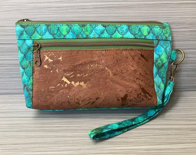 Mermaid wristlet clutch cork gold wallet purse minimalist cellphone wallet smartphone wallet iphone wallet ocean fish scales dragon