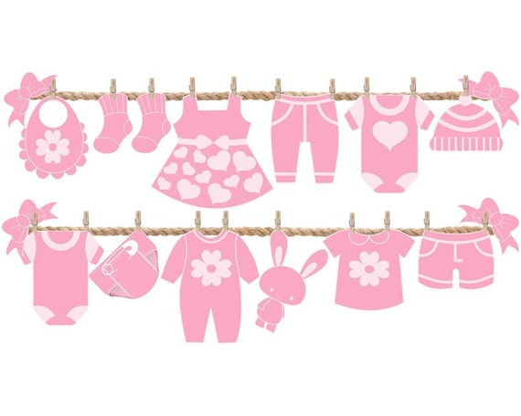 Baby Shower - Baby Shower Ideas - Baby Shower Themes - Decorating -  Decorations - Party - Girl - Pink - Baby Clothing Line Banner