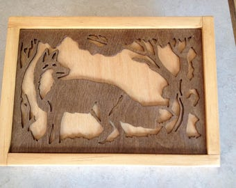 fox wooden cut out wall hanging