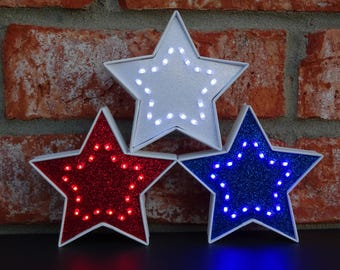 4th of July Decor - Patriotic Decor - Red White & Blue Lighted Decorative Stars - 3.5 Inch - American Decor - Independence Day