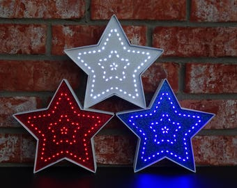 4th of July Decor - Patriotic Decor - Red White & Blue Lighted Decorative Stars - 7.5 Inch - American Decor - Independence Day
