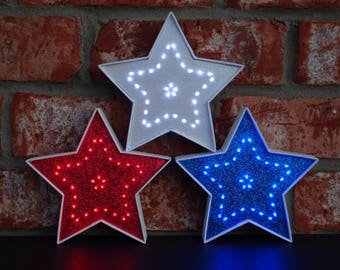 4th of July Decor - Patriotic Decor - Red White & Blue Lighted Decorative Stars - 5.5 Inch - American Decor - Independence Day