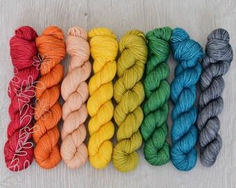 EVERYDAY FINGERING - Autumn Rainbow OOAK yarn set - 100% superwash extrafine merino hand dyed yarn, knitting, crochet, fingering weight