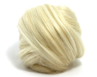 Undyed, 50-50% baby camel - tussah silk roving top for spinning