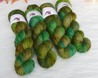 YAK SOCK - Jungle OOAK - hand dyed sock yarn, blend of merino wool and nylon, plied, for knitting crochet