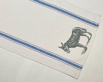 "hand-printed tea towel ""donkey"" (100% cotton, blue-white)"
