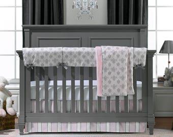 Baby Bedding | Crib Bedding | Baby Girl Crib Bedding | Bella Pink and Gray Bedding | Crib Bedding Set 4PC| Made in USA