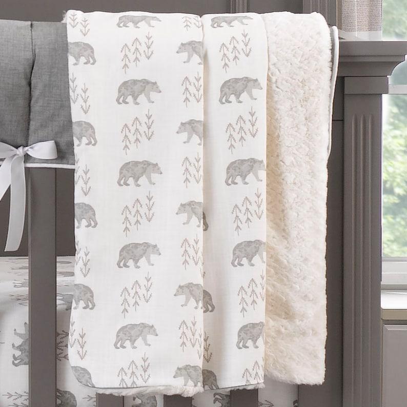 Woodland Baby Bedding Taupe Gender Neutral Cubby Crib Bedding Crib Bedding for Boys Made in USA | Buffalo Check Crib Bedding