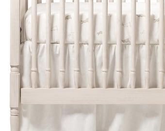 "Ivory Linen Gathered Crib Skirt, 4 sided, 16"" drop"