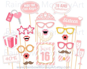 Sweet 16 Photo Booth Props Etsy