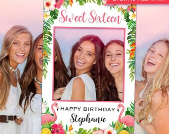 550d067f5a Sweet 16 Birthday Party Printable Sweet 16 Photo Booth Frame - Flamingo  Selfie Photo Booth Frame - Tropical Sweet Sixteen Photo Prop Frame