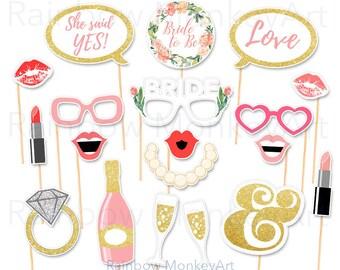 d95af3eb6 Bridal Shower Party Printable Photo Booth Props - Hen Party Photobooth Props  - Wedding Party Photo Booth Props - Bachelorette Party Props