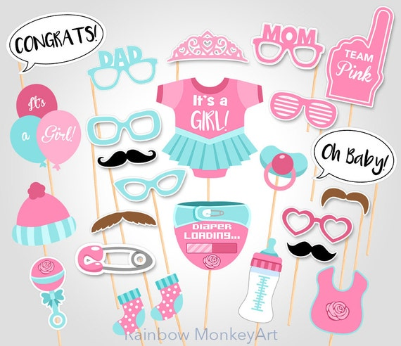 Printable Baby Shower Photo Booth Props Printable Pink Baby Etsy