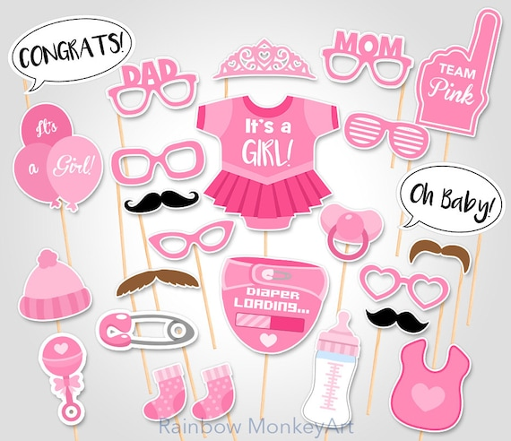 Baby Shower Photobooth Props Baby Shower Girl Photo Booth Etsy