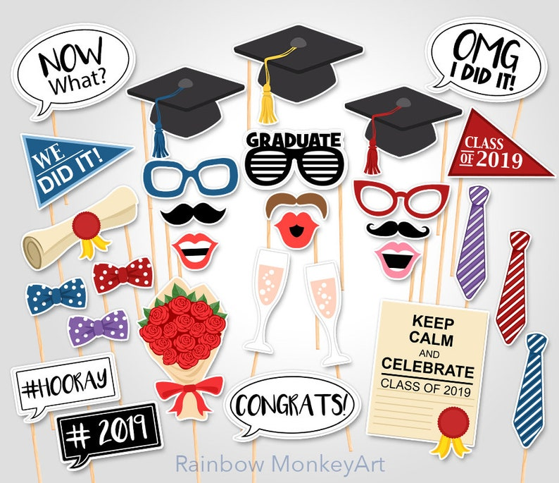 image relating to Graduation Photo Booth Props Printable named Printable Commencement Photograph Booth Props - Commencement Photobooth Props - Commencement Printable Props - Commencement Cl of 2019 Celebration