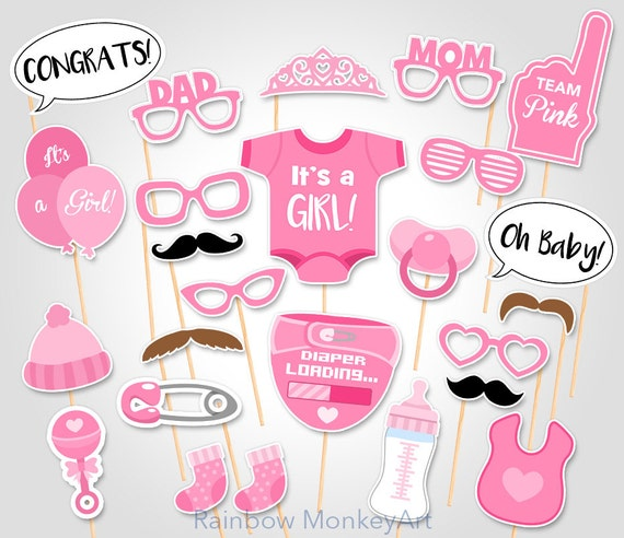 Printable Baby Shower Photo Booth Props Baby Girl Photobooth Etsy