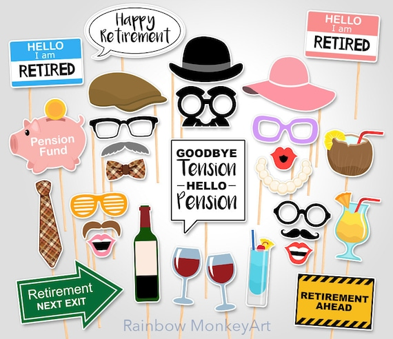 Printable Retirement Party Photo Booth Props Retirement Photobooth Props Retirement Printable Props Retirement Props