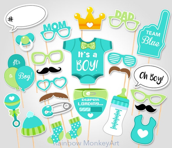 Green Baby Shower Photo Props Baby Boy Photobooth Props Etsy