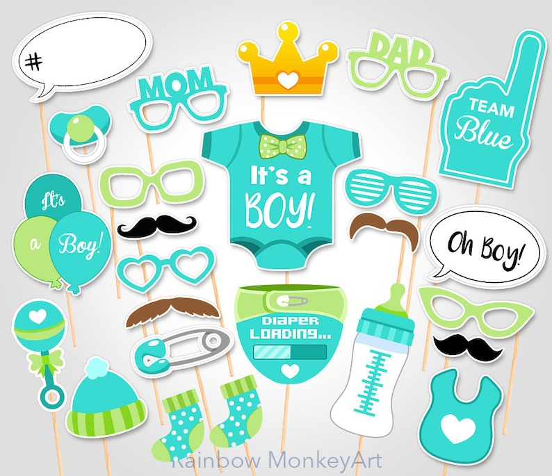 graphic relating to Baby Shower Photo Booth Props Printable called Environmentally friendly Youngster Shower Image Props - Kid Boy PhotoBooth Props - Printable Child Shower Photobooth Props - Printable Youngster Shower Bash Props