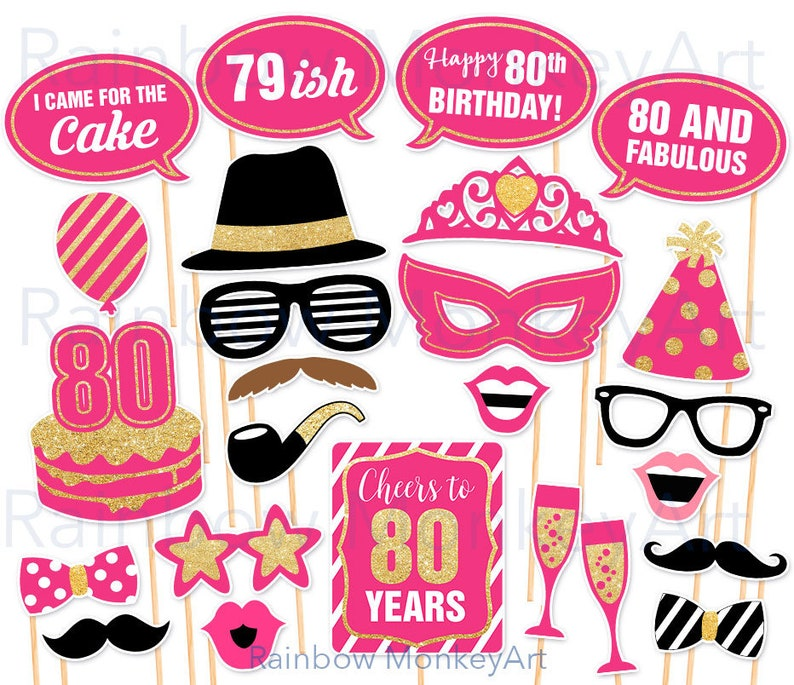 80th Birthday Party Printable Photo Booth Props Pink And Etsy