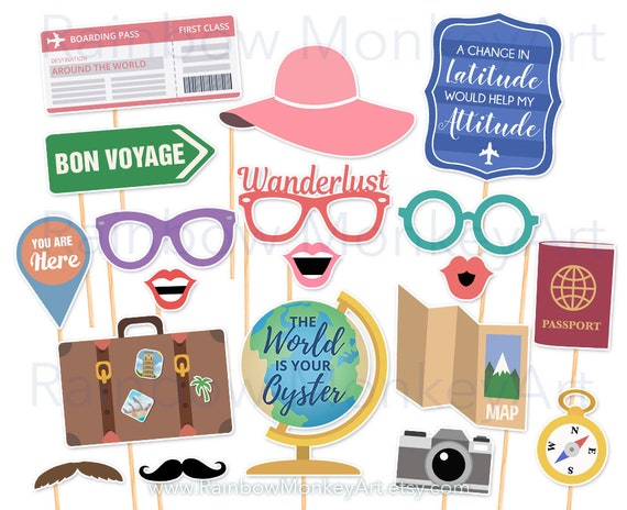 Printable Travel Party Photo Booth Props Farewell Photobooth Etsy