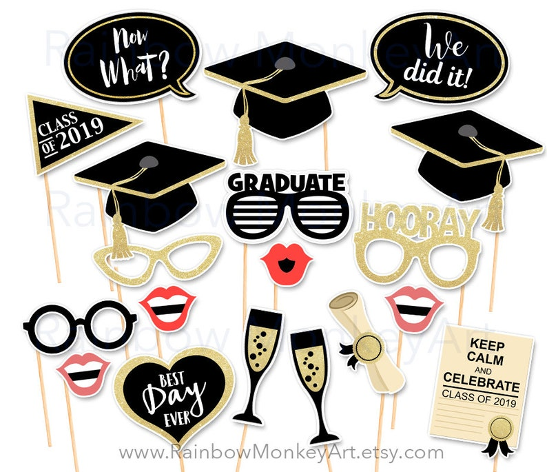 photograph relating to Printable Graduation Photo Booth Props named Printable Commencement Image Booth Props - Commencement Black Gold Photobooth Props - Commencement Printable Props Commencement Cl of 2019 Occasion