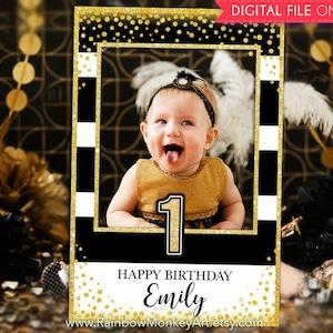 Black Gold Glitter Photo Booth Frame 18th Birthday Party Printable Birthday Photo Booth Frame Gold Confetti Photo Prop Frame