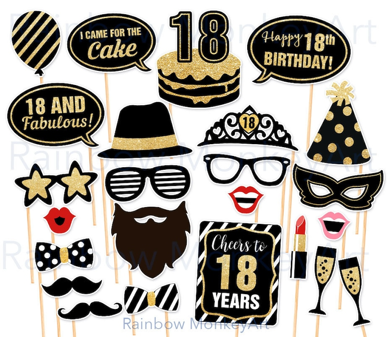 18th Birthday Party Printable Photo Booth Props Black And Gold