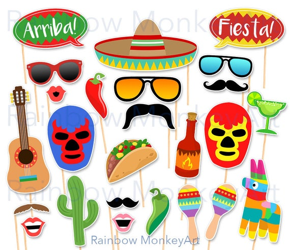 Printable Mexican Party Photo Booth Props Mexican Fiesta Etsy