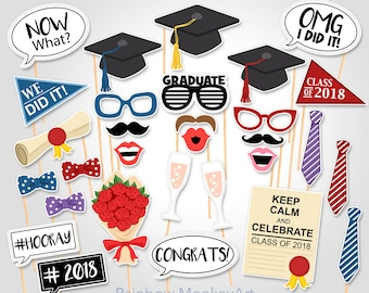 Printable Graduation Photo Booth Props - Graduation Photobooth Props - Graduation Printable Props - Graduation Class of 2018 Party