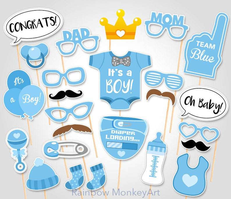 photo relating to Printable Baby Shower named Child Shower Picture Booth Props - Printable Photograph Booth Props - Its a Boy Child Photobooth Props - Workers Blue Printable Celebration Props