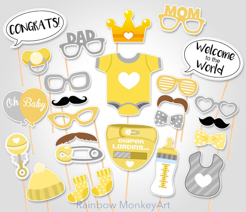 graphic relating to Baby Shower Photo Booth Props Printable called Printable Yellow Boy or girl Shower Photograph Booth Props - Printable Photobooth Props - Gender Impartial Little one Picture Booth Props - Printable Occasion Props