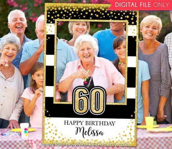 60th Anniversary Black Gold Glitter Photo Booth Frame Gold Confetti Photo Prop Frame Printable 60th Anniversary Photo Booth Frame
