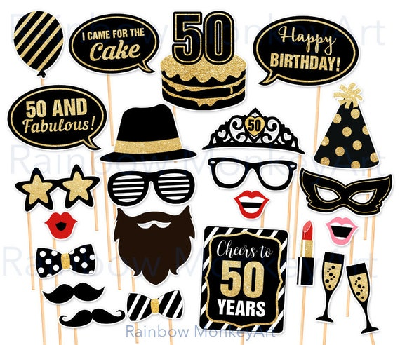 50th Birthday Party Printable Photo Booth Props Black And