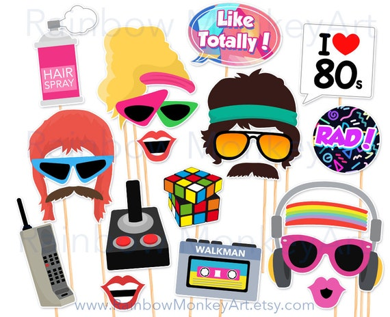 Printable 80s Photo Booth Props 80's style Photobooth | Etsy