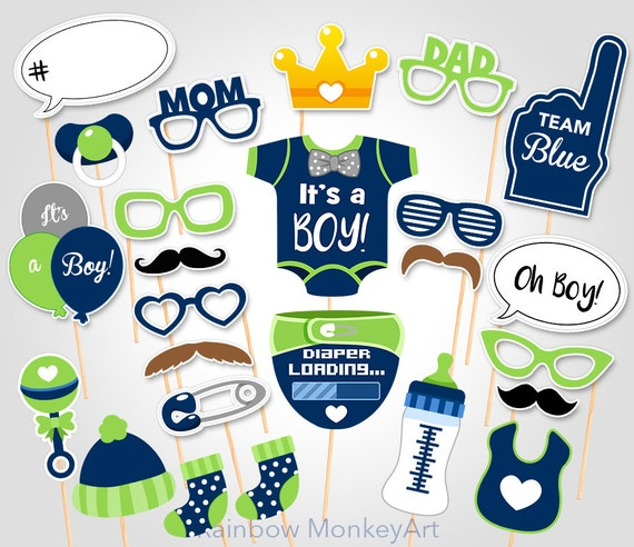 Printable Baby Shower Photo Props Baby Boy Photo Booth Props Etsy