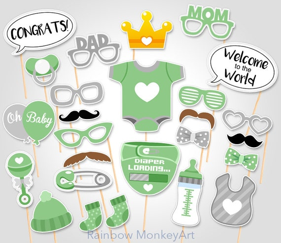 Green Baby Shower Photo Booth Props Printable Baby Shower Etsy