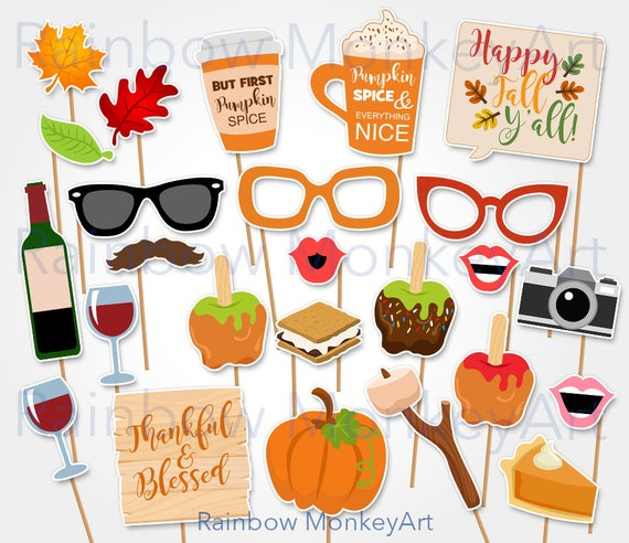 Printable Fall Photo Booth Props Fall Wedding Photobooth Etsy