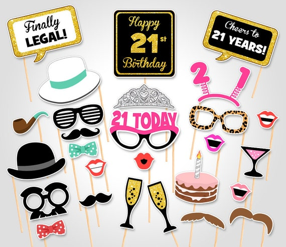 21st Birthday Party Printable Photo Booth Props Birthday Etsy