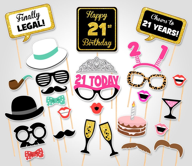 picture regarding Printable Photo Booth Props Birthday known as 21st Birthday Get together Printable Image Booth Props - Birthday Celebration Photobooth Props - Electronic Obtain Birthday Bash Photograph Booth Prop